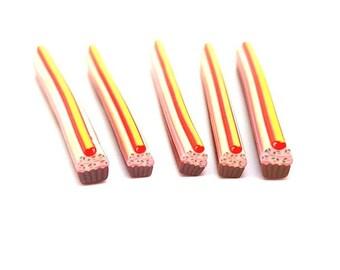 5 canes Cupcake sprinkles paste Fimo 5cm