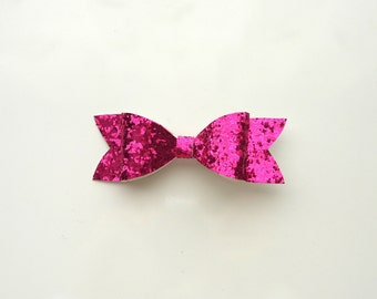 Glitter Hot Pink Round Hair Bow Clip
