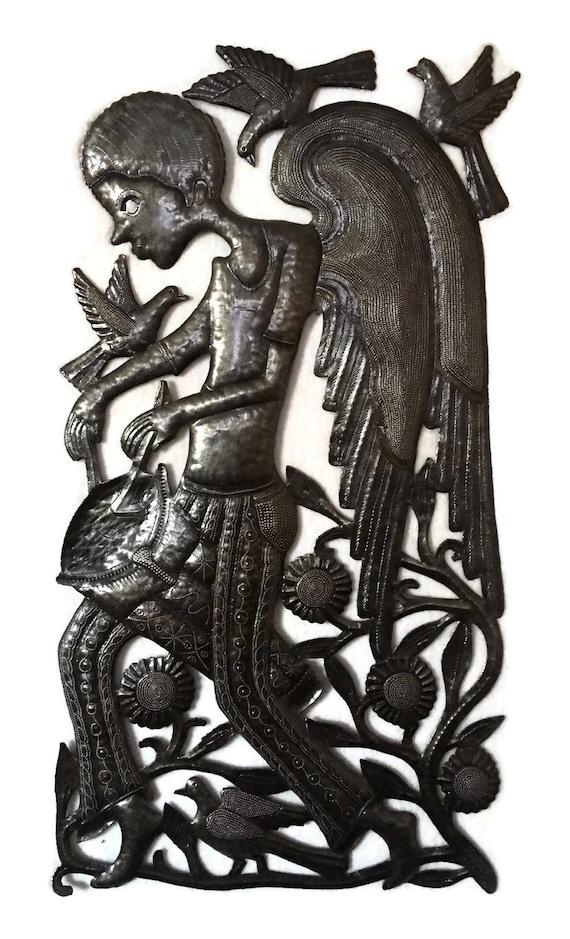 "Angel boy playing the drums , Haiti Metal Wall Art, Fair Trade, Recycled Metal Wall Art, Steel wall Sculpture, 18"" x 34"""