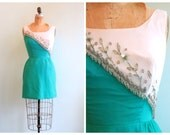 Vintage 1960's Turquoise Beaded Party Dress | Size Extra Small