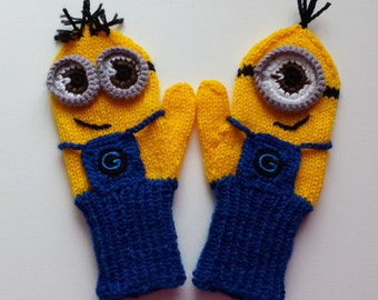 Mittens, gloves of minions for children 2-4