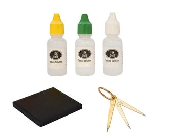 10K, 14K, and 18K Gold Precious Metal Testing Set w/ Needles, Stone, and Solutions Karat Purity - TEST-0013