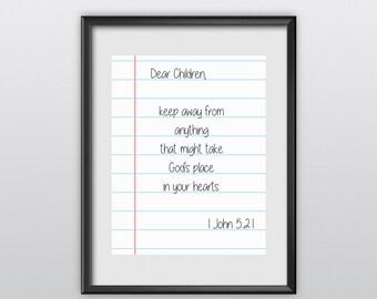 75% off 1 John 5:21 Scripture Print Christian Poster Dear Children Typography Bible Verse Wall Art (T24)