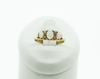 A Vintage Opal And Diamond Ring   SKU46