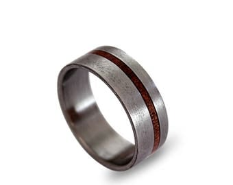 Titanium Ring with Rose Root Inlay, Brushed Titanium Ring, Wooden Ring, Titanium Wedding Band with Off-Center Inlay, Mens Ring, Womens Ring