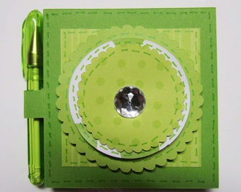 Green Post it Note Holder, Sticky Note Holder, Stationary, Notes, Note Pads, Paper Craft, Gifts