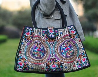Bohemian Tote bag - Hmong Ethnic bag - Boho Embroidery Shoulder Bag  ( FREE SHIPPING WORLDWIDE )