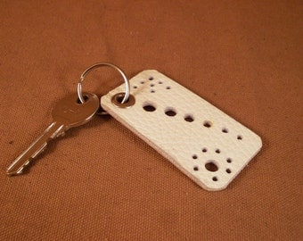 FREE SHIPPING! White leather keychain decorated with hole ornament