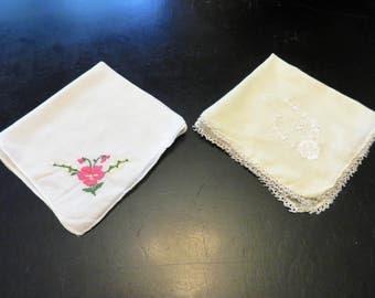 Hankie Set of 2 Hand Stitched Hankies Ladies Accessories, Delicate Stitched Handkerchiefs, 1950s Ladies Apparel