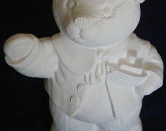 Ceramic teddy bear to paint. Unpainted ceramic animal. Ceramic figure.