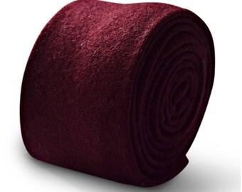 Frederick Thomas mens 100% wool tweed tie in burgundy maroon FT3330