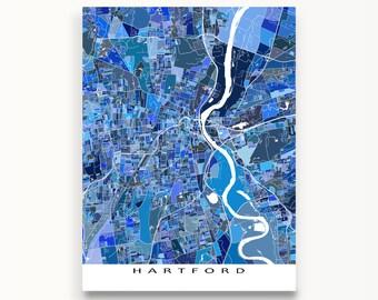 Hartford Map Art Print, Hartford Connecticut, USA City Maps