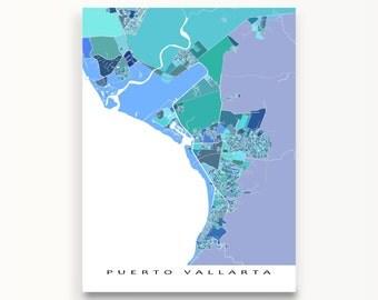 Puerto Vallarta Map Print, Puerto Vallarta Mexico Art, Mexico Map