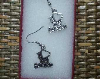 "New ""I Love My Soldier"" Antique Silver Dangle Earrings"