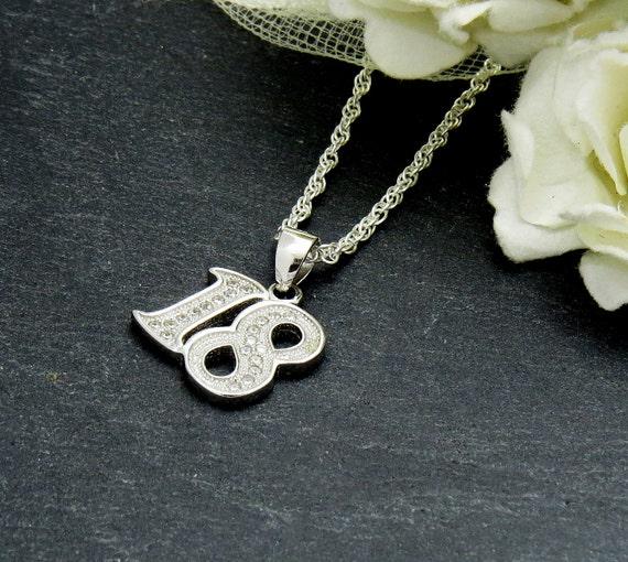 18th Birthday Gift 18th Birthday Necklace 18th Silver