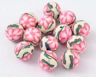 Handmade Polymer Clay Beads, with Butterfly Pattern, Round, Pale Green