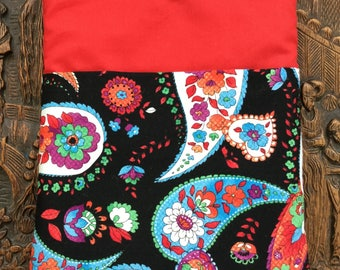 Paisley floral iPad /tablet case, fabric tablet sleeve, soft tablet case, padded tablet case, iPad cover