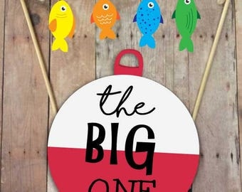 The Big One Fishing Birthday | Fishing Birthday Cake Topper | Fishing Birthday Decorations | Smash Cake Topper | Printable Cake Topper