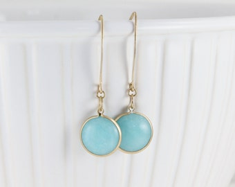 "turquoise gold earrings Blue Jade semi precious stone round gem medallion dangle drop hook 2"" long lightweight"