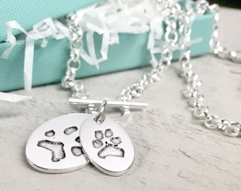 YOUR Pet's Paw Print Necklace - Pet Print Pendant - Personalized Jewelry - Womens Necklace - Dog print Jewelry - Pet memorial - dog memorial