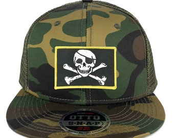 Jolly Rogers Military Skull Embroidered Iron on Patch Camo Snapback Mesh Trucker Cap (153-1120-PM507)