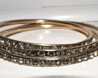 Art Deco Slave Bangles x 3 Channel Set Diamond Paste Gilt Metal 1930's Slave Bracelets Two Medium and One large Upper Arm Bangle Cuff