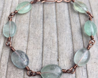 Fluorite Bracelet / Copper Bracelet / Wire Wrapped Bracelet