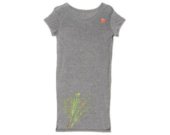 Women's Organic Tee Dress ∞ Sea Flower • Gray • Small