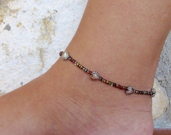 Ankle bracelet, anklet, Heart anklet, Gold toned Ankle bracelet, Beach Anklet,