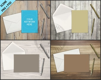 Greeting Card, Envelope, Pen on Wood Table Styling | 5x7 Empty Portrait Landscape Card Styled Desktop Mockup D7 | Styled Stock Photography