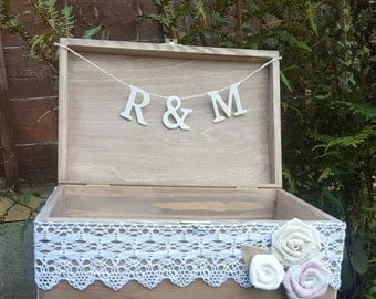 Discounted Rustic Wedding Card Box  Card Holder with wooden letters , Banner Rustic Wedding Gift Wooden Chest  Wedding Sign