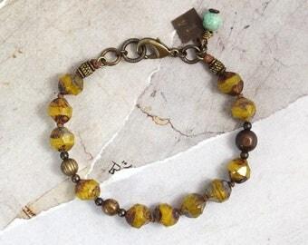 Ochre bracelet Czech glass bracelet Chunky bracelet Yellow glass jewelry Rustic jewelry Yellow bracelet Knotted bracelet Cowgirl jewelry