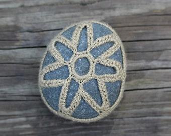 Large Crochet Stone // Handmade // Free Shipping