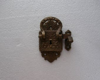 VINTAGE ART DECO Cast Brass  Ice Box Lock with Latch for furniture restoration or Collector