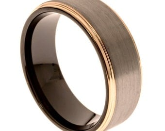 Rose Gold and Silver Men's Wedding Band, Tungsten Carbide, 8MM, Black Comfort Fit Band, Free Engraving, Sizes 7-13