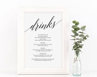 Drinks Menu Sign Printable - Wedding Bar Menu - Signature Cocktails & Drinks Menu - Instant Download Editable PDF - 5x7 inches - #GD0501