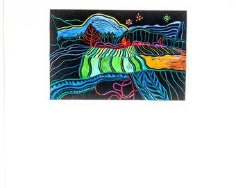 "Original Linocut Farmland Lopez Island San Juan Islands WA Pacific NW Artist Bower 10 x 12.5"" Art Print"
