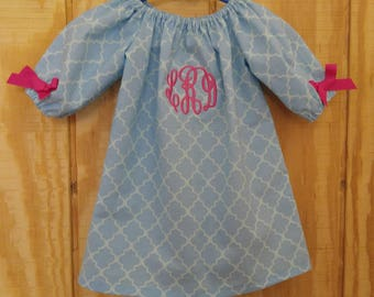 Monogrammed Peasant Dress for Baby/Toddler/Girl, Spring Dress, Summer Dress