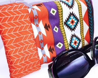 South Western Super Padded Sunglasses Case, Extra Wide Glasses, Quilted Sunglass Pouch, Magnetic Snap Closure