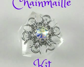 Chainmaille Pixie Snowflake Pendant Kit - Aluminum 47ss