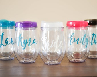 Personalized Wine Tumbler, Stemless Wine Tumbler with Name, Bridesmaid Bride Gift Bachelorette With Lid and Straw