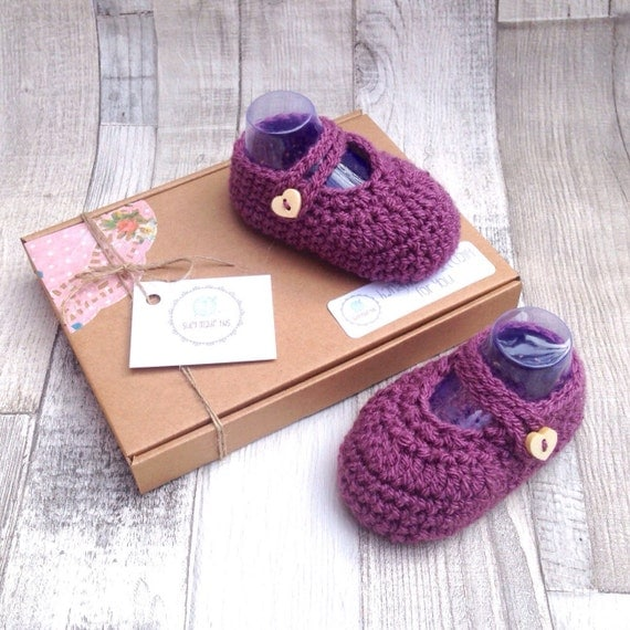 Purple baby shoes, newborn 0-3, 3-6, crocheted girls booties, gift boxed, baby shower gift, plum damson, crochet mary janes for baby girl