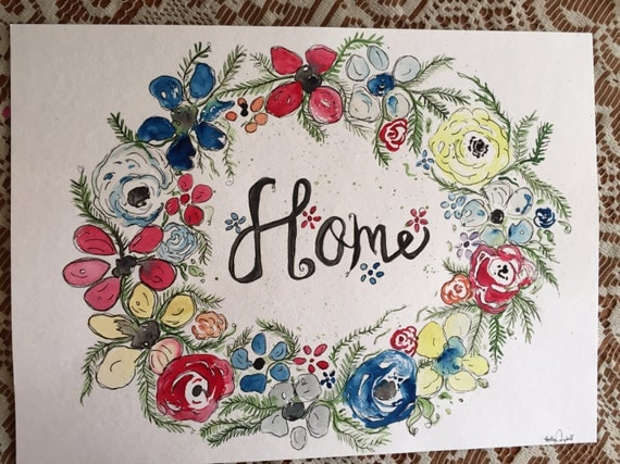 Original Watercolor and Ink Flower Wreath  Painting, Love Painting,