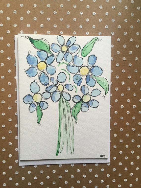 Original Watercolor and Ink Flower Card, Blue Flower Watercolor Card, Flower Note Card, Hand Painted Flower Card