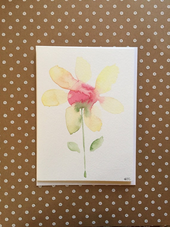 Watercolor Flower Card, Hand Painted Flower Card, Homemade Flower Card,