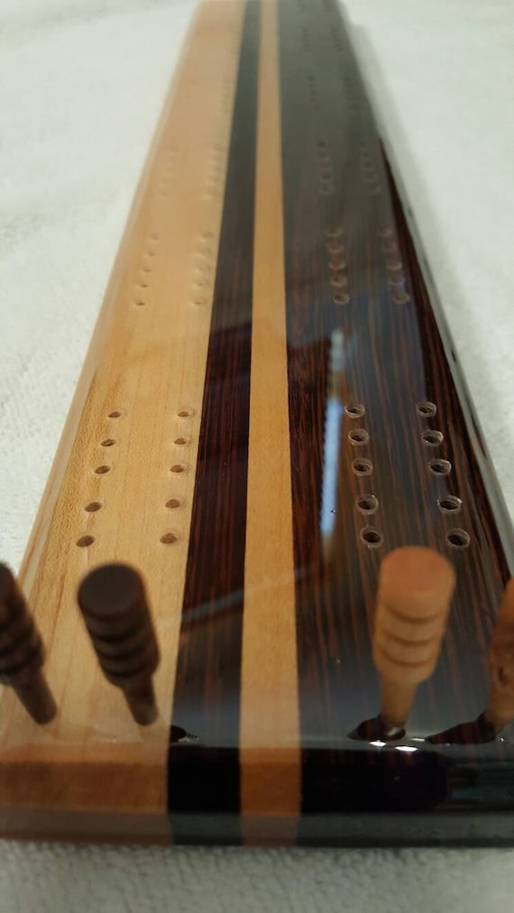 Handcrafted Exotic Wenge And Maple Hardwood Cribbage Board