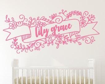 Personalized Floral Flower Banner Decal / Vintage Floral / Kids Nursery / Baby Nursery / Little Girl Nursery / Little Girl Room Flower Decal