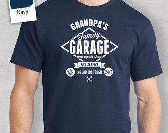 Grandpa's Garage T-shirt, Personalized Grandpa Gift, Grandpa Birthday Gift, Grandpa Gift, Grandpa Shirt, New Grandpa Gift, Grandpa Tshirt