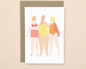 Beach Friends Illustrated Greetings Card