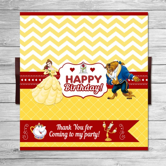 Beauty and the Beast Candy Wrapper Chevron / Beauty & the Beast Birthday / Belle Party Favor / Printable Chocolate Bar Label / Red Yellow
